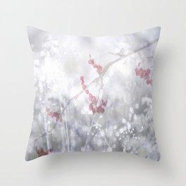 Winter Scene Rowan Berries With Snow And Bokeh #decor #buyart #society6 Throw Pillow