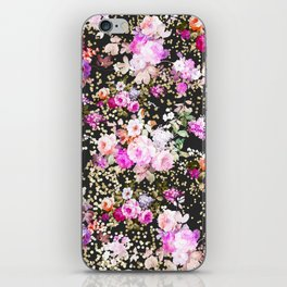Elegant vintage bright pink floral faux gold confetti iPhone Skin