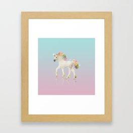 Colorful Unicorn Low Poly Polygonal Illustration Framed Art Print