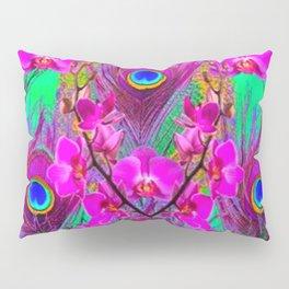 Green & Fuchsia Peacock Feathers Pink Orchid Patterns Art Pillow Sham