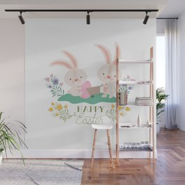 Happy Easter - Bunny Rabbits Eggs and Yellow, Purple Pink Flowers Wall Mural