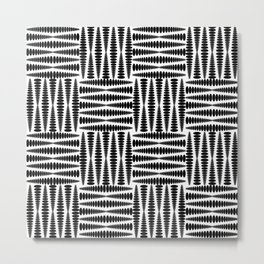 Strict squares of elongated curly rhombs in monochrome. Metal Print