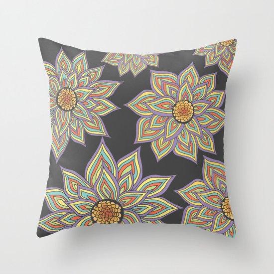 Floral Rhythm In The Dark Throw Pillow