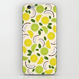 Lime Lemon Coconut Mint pattern iPhone Skin