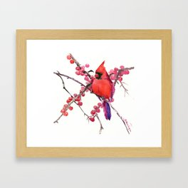 Red Cardinal and Berries, Christmas Red design Christmas Decor Gift Framed Art Print