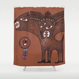friendly monster says hello to the surreal eye Shower Curtain
