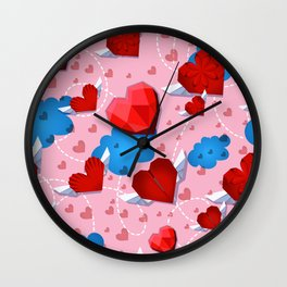 Hearts pattern for textile or wallpaper Wall Clock