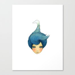 the girl with swan hair Canvas Print