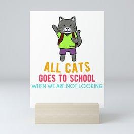 Cat pet school study enrollment Mini Art Print