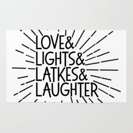 LOVE & LIGHTS & LATKES & LAUGHTER Hanukkah ampersand design Rug