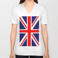 uk V-neck T-shirts featuring UK Flag by TilenHrovatic
