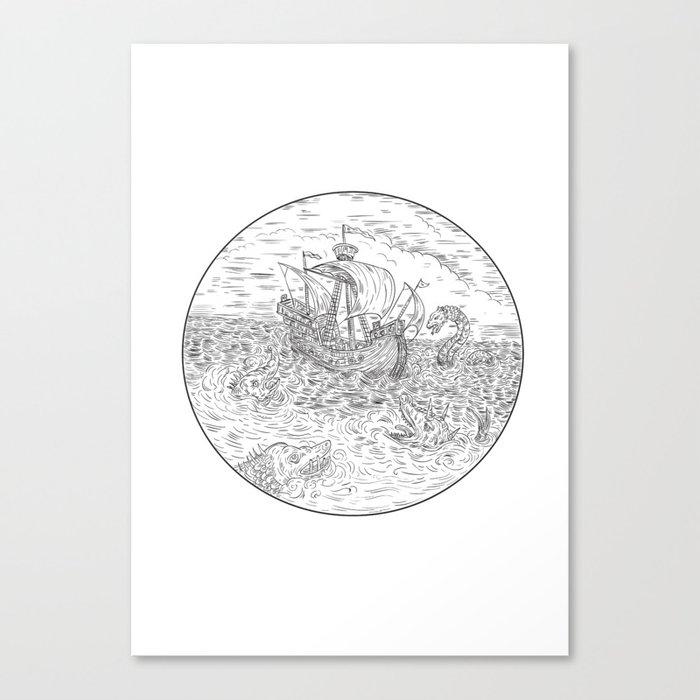 Tall Ship Turbulent Sea Serpents Black and White Drawing Leinwanddruck