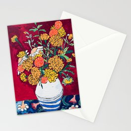 Marigold, Daisy and Wildflower Bouquet Fall Floral Still Life Painting on Eggplant Purple Stationery Cards