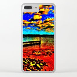 Colorful Sunset on Beachfront Clear iPhone Case