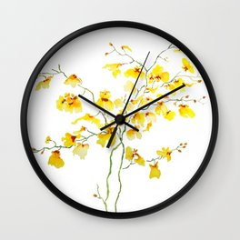 yellow Oncidium Orchid watercolor Wall Clock
