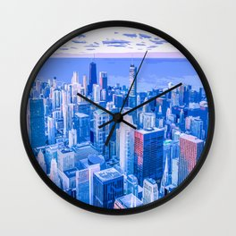 Blue Chicago Skyline Wall Clock