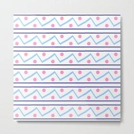 Funnies stripes VI Blue and pink Metal Print
