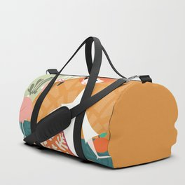 Girl with flamingo and Henri Matisse inspired decoration, vector illustration Duffle Bag