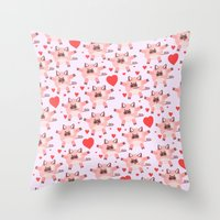 pigs Throw Pillows featuring pigs by elvia montemayor