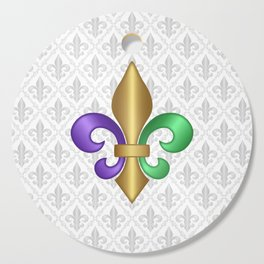 Purple Green and Gold Fleur-de-Lis on Gray Pattern Cutting Board