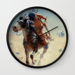 "William Leigh Western Art ""Indian Rider"" Wall Clock"