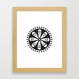 Folk Art Circle (Black) Framed Art Print
