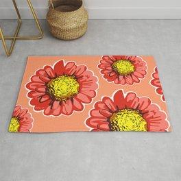 Red Chrysanthemum Flower Illustration Rug