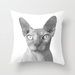 Black and White Sphynx Cat Throw Pillow