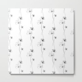 Flowers Line Drawing Pattern Black and White Metal Print