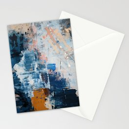 Shapes in the Clouds: a vibrant mixed-media piece in blues and pinks by Alyssa Hamilton Art Stationery Cards
