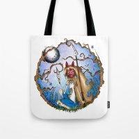 princess mononoke Tote Bags featuring Princess Mononoke by Jena Sinclair