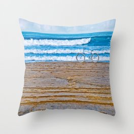 Beach Bike Throw Pillow