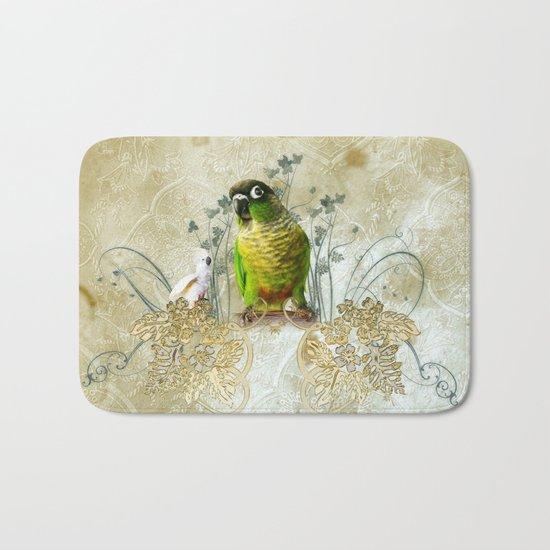 Wonderful, cute parrot Bath Mat