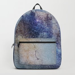 Chairlift into the Universe // Milky Way Galaxy Snowboarding Snow Nebula Stars Mixed Media Popart Backpack