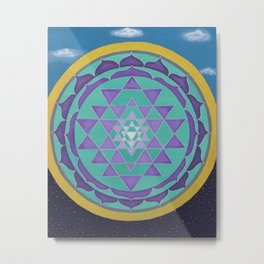 Embracing the light and the dark Mandala Metal Print