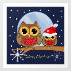 Cute Christmas Owls & Text Art Print
