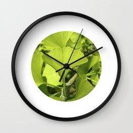 green ginkgo leaf VII Wall Clock