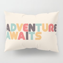 Retro Adventure Awaits Typography Pillow Sham