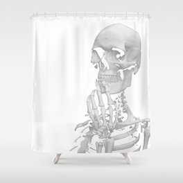 Thinking Skeleton (Black and White) Shower Curtain