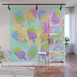 Ice Lollipops Popsicles Summer Punchy Pastels Colors Pattern Wall Mural
