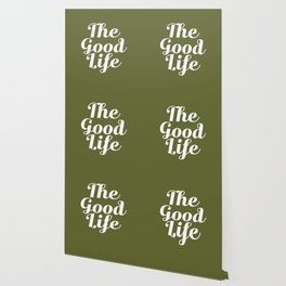 The Good Life - Olive Green and White Wallpaper