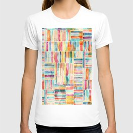 Summer Pastel Geometric and Striped Abstract on cream T-shirt