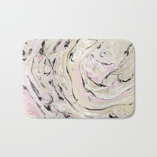 Pink and gold marble Bath Mat