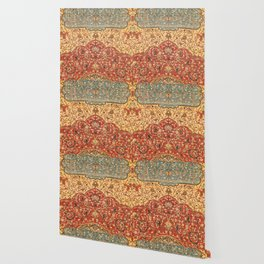 Flowery Vines I // 16th Century Contemporary Red Blue Yellow Colorful Ornate Accent Rug Pattern Wallpaper