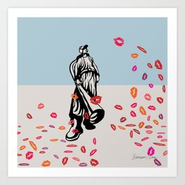Blowing Kisses Pun Art Print