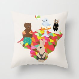 Beach Day With Animal Friends Throw Pillow