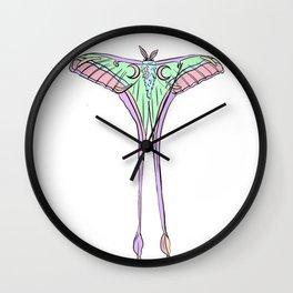 lunar moth pastel Wall Clock