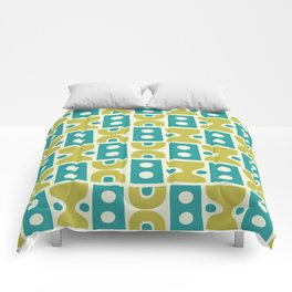 Funky Mid Century Modern Pattern 773 Turquoise and Chartreuse Comforters