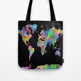 world map watercolor black 2 Tote Bag