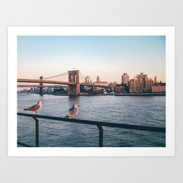 Brooklin Bridge (New York City - USA) view from Hudson river Art Print